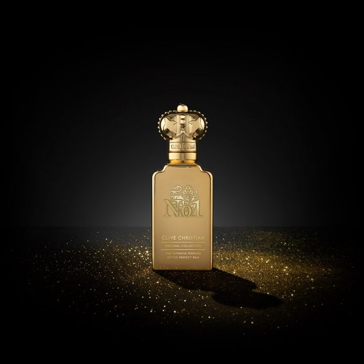 Clive Christian's luxury No.1 Floral Oriental perfume comes in a gold bottle with a gold cap