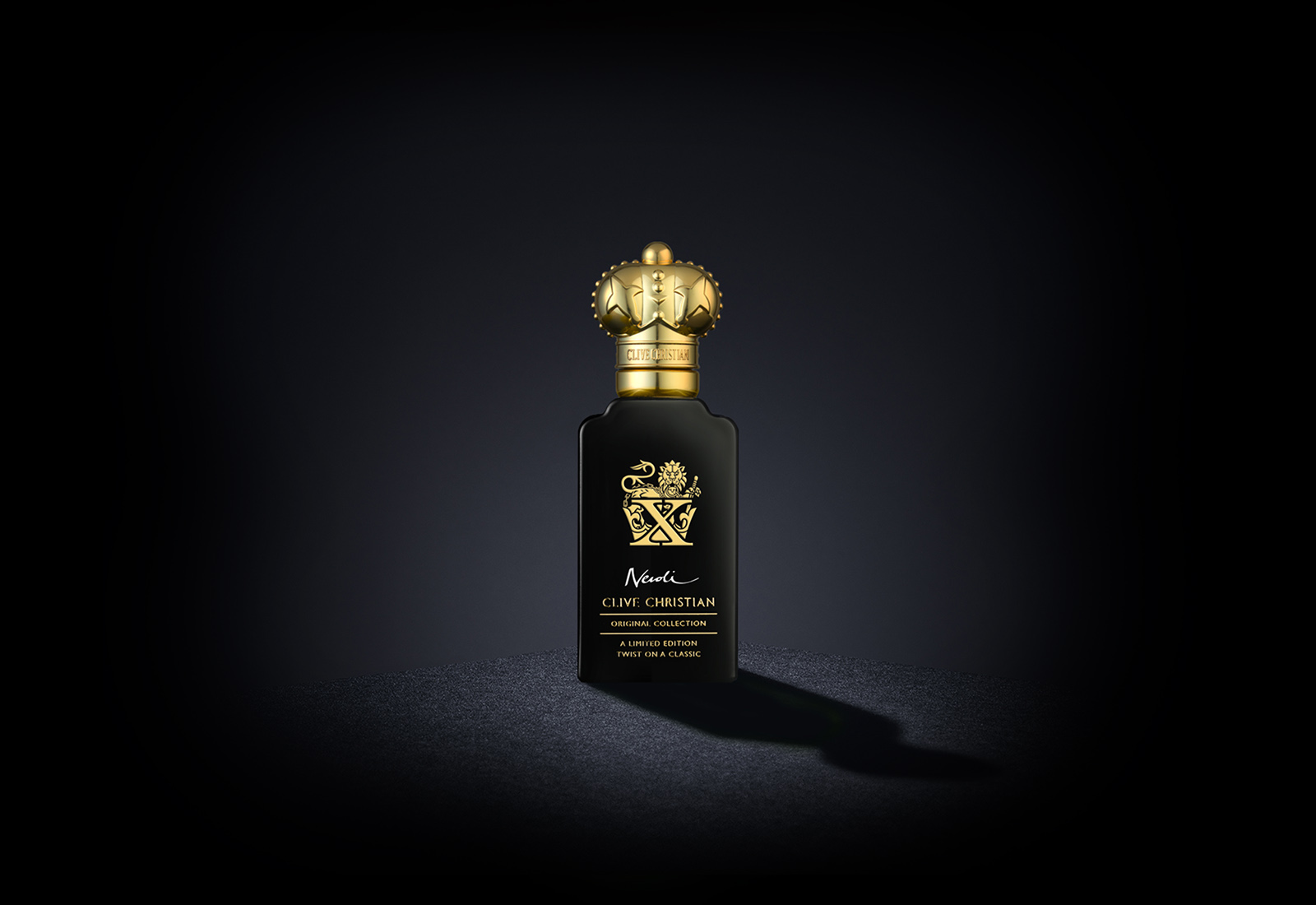 Clive Christian's luxury perfume, X Neroli Limited Edition, comes in a black bottle with a gold cap
