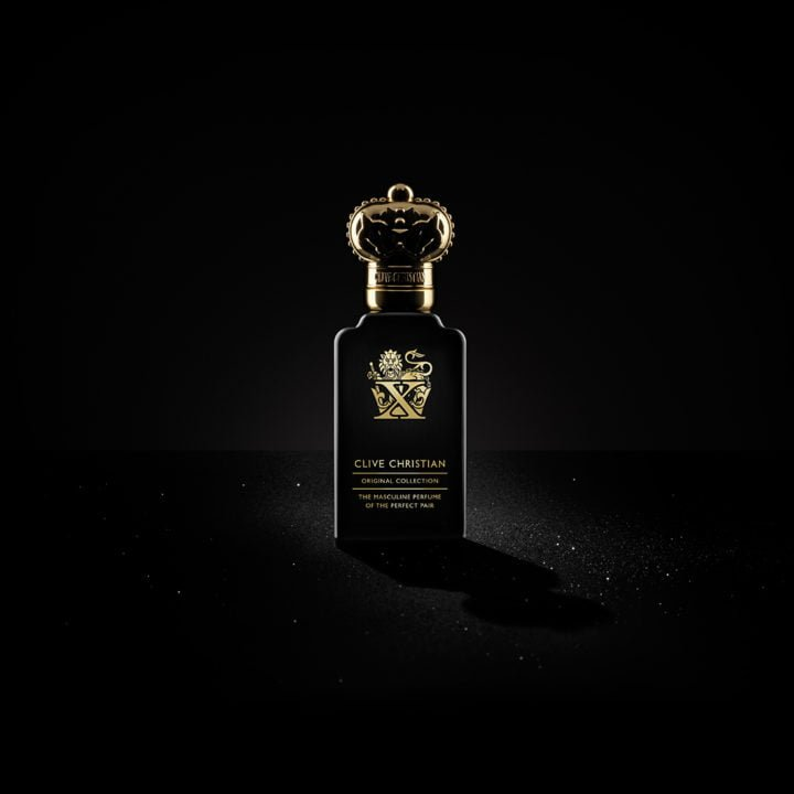 A luxurious perfume bottle in black and gold from Clive Christian's original collection for men