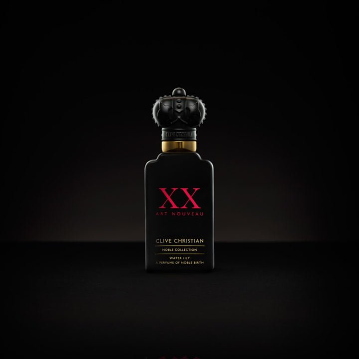 Clive Christian's Noble XX Water Lily, a luxury perfume packaged in a black bottle with a red logo