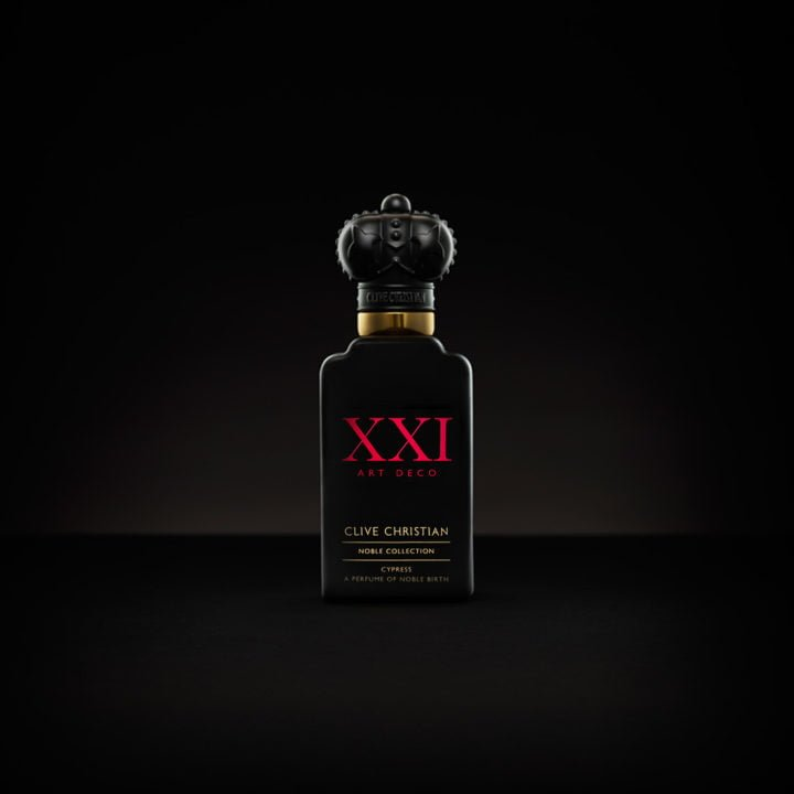 Clive Christian's luxury perfume, Art Deco Cypress, comes in a black bottle with red writing