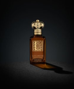 Clive Christian's luxury perfume, L Woody Oriental come in a brown bottle with a gold cap
