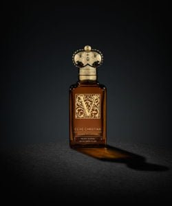 Clive Christian's luxury V Fruity Floral perfume comes in a brown bottle with a gold cap