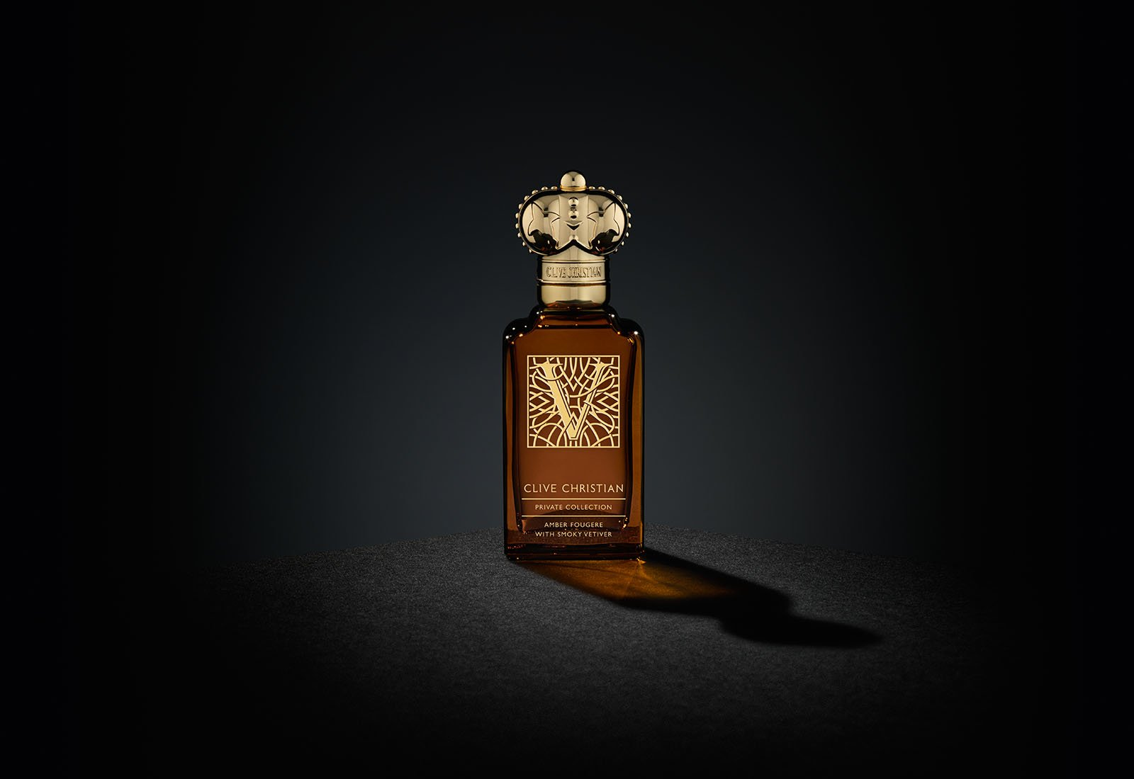 Clive Christian's luxury perfume, V Amber Fougere comes in a brown bottle with a gold cap