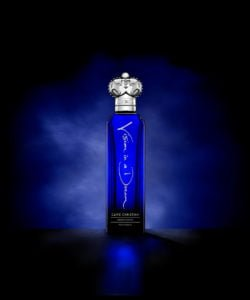 Clive Christian's perfume, Vision in a Dream Psychedelic, comes in a blue bottle with a silver cap