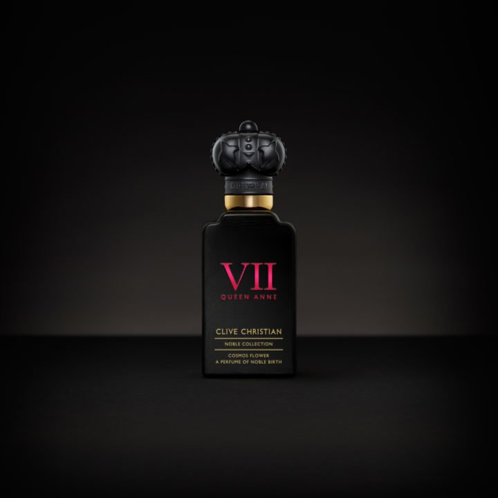 Clive Christian's luxury perfume called VII Cosmos comes in a black bottle with and with a golden crown lid