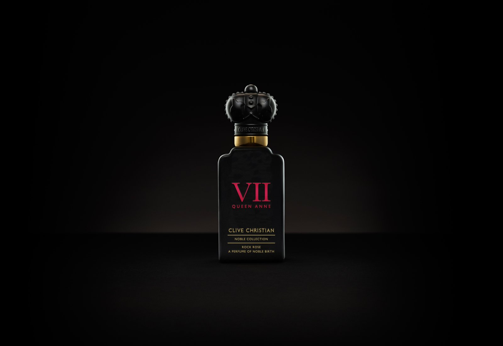 Clive Christian's luxury perfume called VII Rock comes in a black bottle with a black crown lid